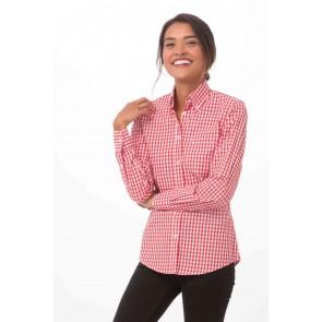 Gingham Womens Red Dress Shirt
