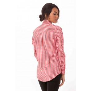 Gingham Womens Red Dress Shirt by Chef Works