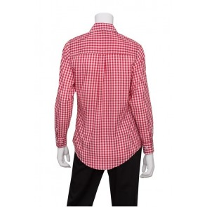 Gingham Women's Red Dress Shirt by Chef Works