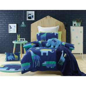 Jiggle & Giggle Animal Patch Double Quilt Cover Set